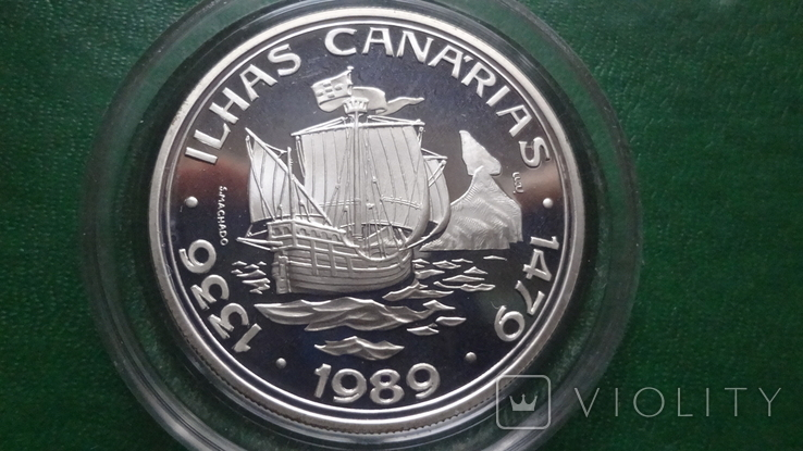 100  эскудо 1989 Португалия 510 лет открытию Канарских о-вов  серебро (2.5.4), фото №2