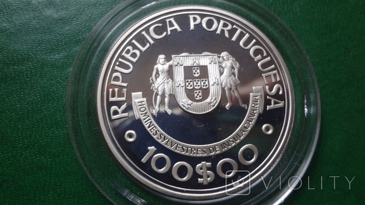 100  эскудо 1989 Португалия 510 лет открытию Канарских о-вов  серебро (2.5.4), фото №4