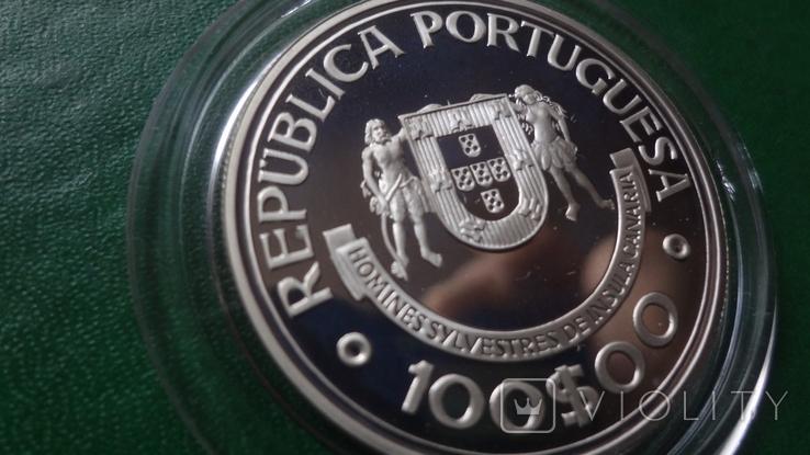 100  эскудо 1989 Португалия 510 лет открытию Канарских о-вов  серебро (2.5.4), фото №5