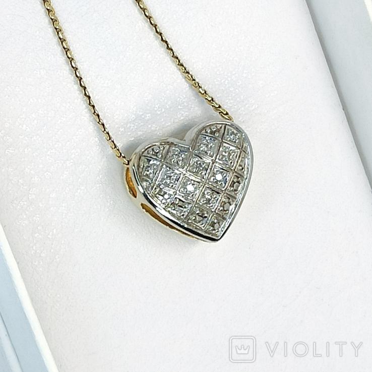 "Винтажная золотая подвеска ""сердце"" с бриллиантами, фото №2"