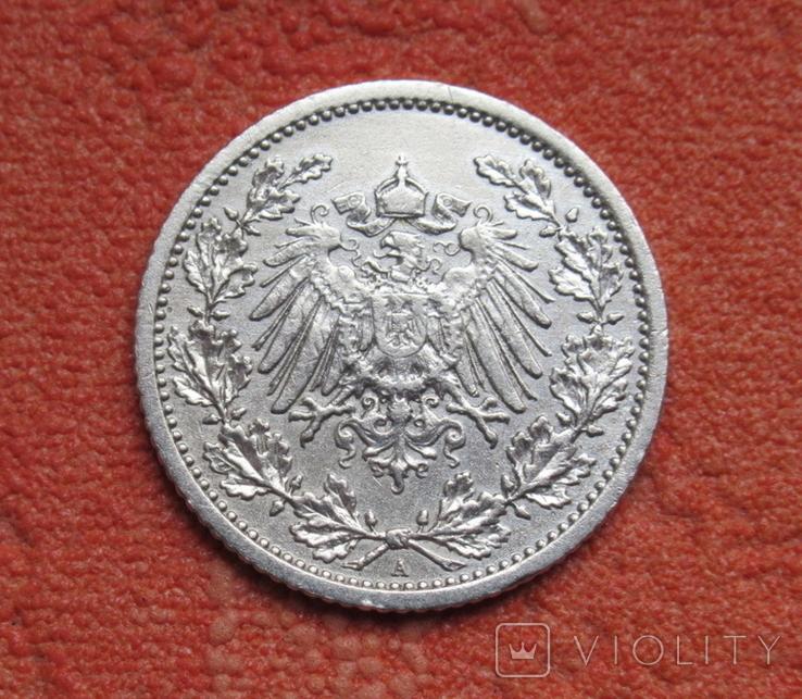 1/2 марки 1908 г. (А) Германия, серебро, фото №4