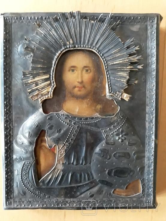 Ікона Ісуса Христа в срібному окладі 84 проби 1825 року, фото №2