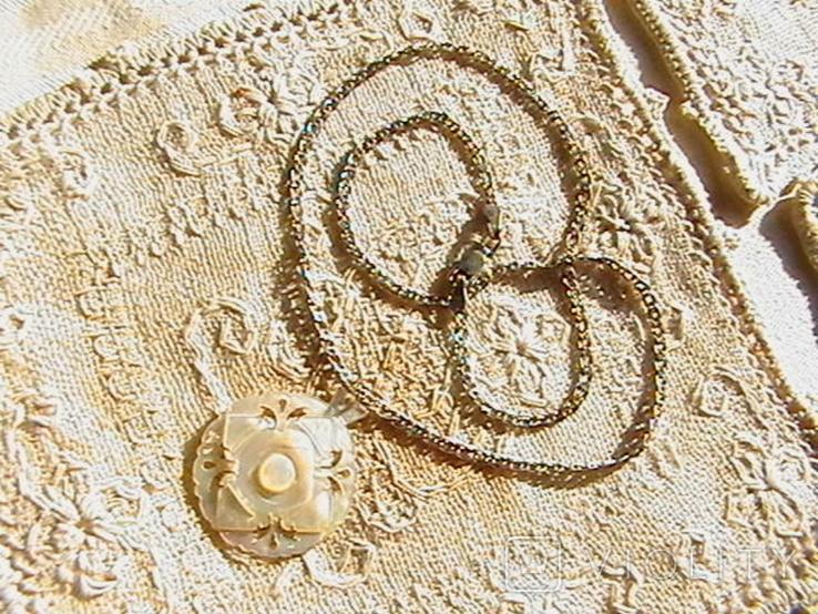 Кулон перламутр, цепочка серебро 925 пробы., фото №2