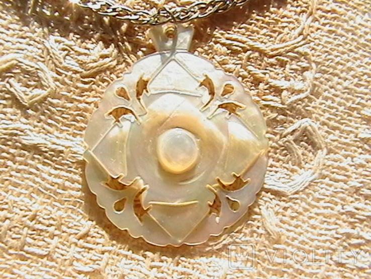 Кулон перламутр, цепочка серебро 925 пробы., фото №3