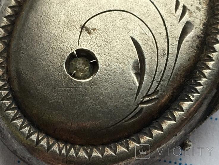 Кулон серебро 875 пр. голова до 1958г. с камнем и позолотой, фото №6
