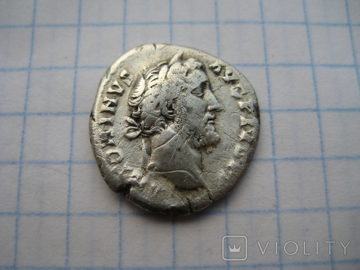Денарий, Антоний Пий (реверс - молнии над троном), фото №4