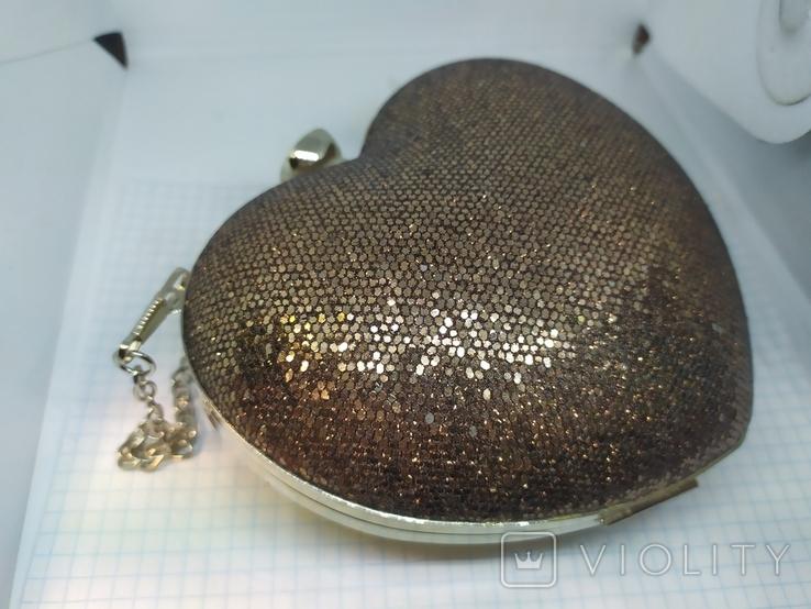 Новая сумочка-клатч в форме сердца. Длинная и короткая ручки., фото №6