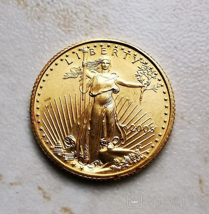5 долларов 2005 1/10 oz, фото №2