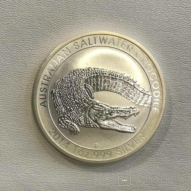 Австралия Крокодил 1 2014 год 1 унция серебра 999, фото №3