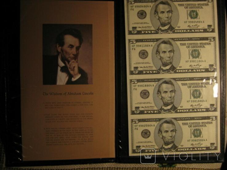 Чотири пятидоларових банкноти не різані., фото №2