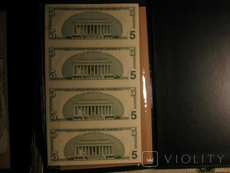 Чотири пятидоларових банкноти не різані., фото №3