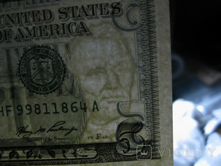 Чотири пятидоларових банкноти не різані., фото №12