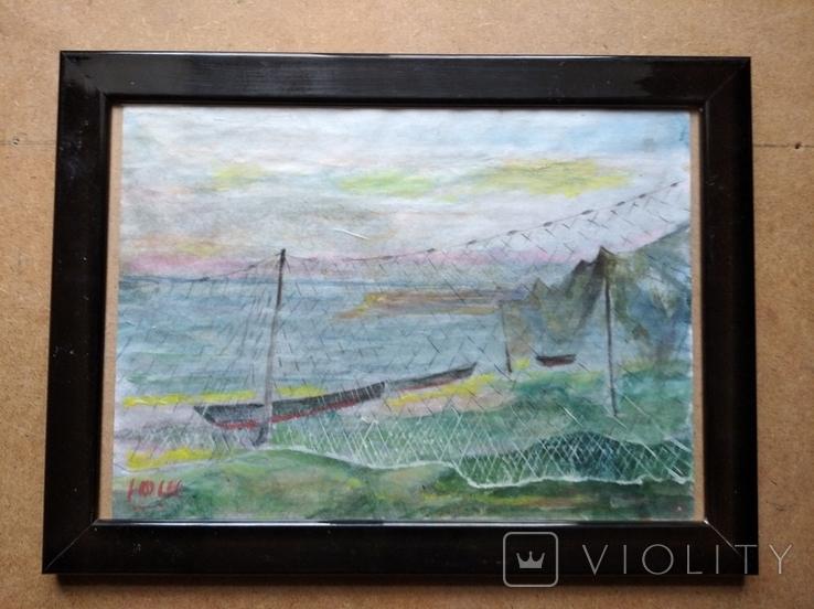 """Море"" б.акв. 20х28 см. Юрий Шуревич., фото №3"