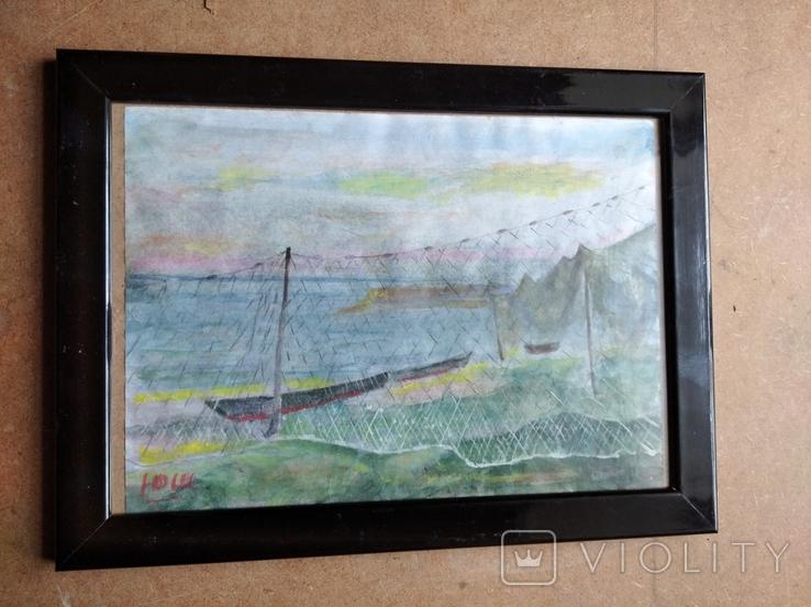 """Море"" б.акв. 20х28 см. Юрий Шуревич., фото №12"