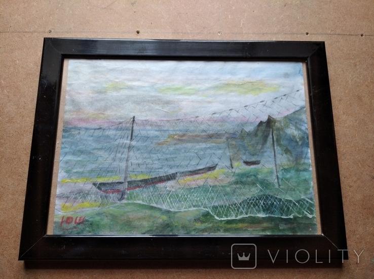 """Море"" б.акв. 20х28 см. Юрий Шуревич., фото №13"