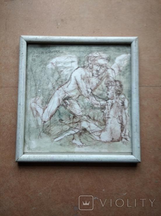 """""""Дева и Ангел""""б.сепия. 30х32 см. Виктор Павлов, фото №2"""