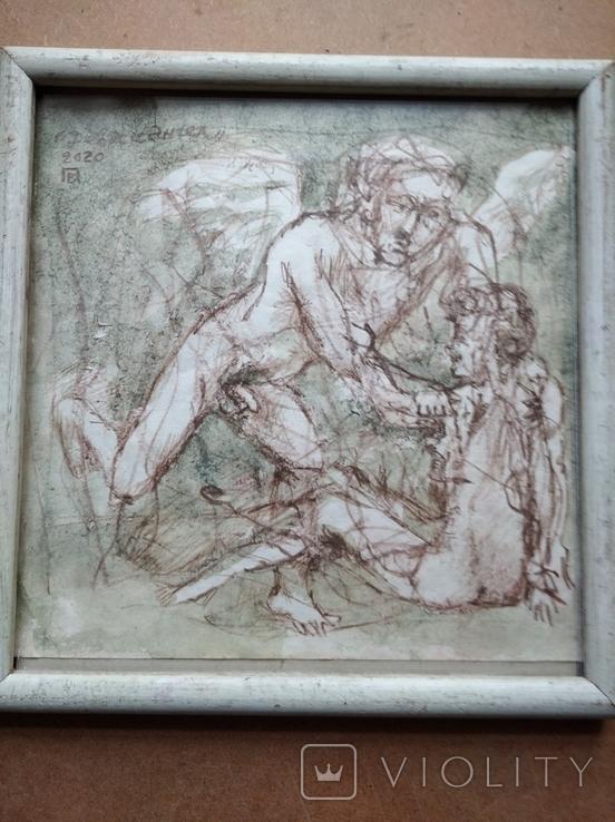 """""""Дева и Ангел""""б.сепия. 30х32 см. Виктор Павлов, фото №3"""