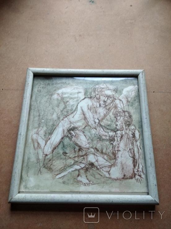 """""""Дева и Ангел""""б.сепия. 30х32 см. Виктор Павлов, фото №9"""