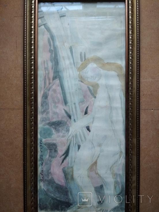 """""""Орфей"""" б.акв. 60х25 см. 1992 г. Виктор Павлов, фото №3"""