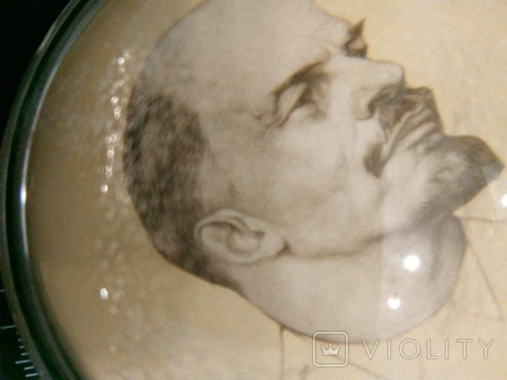 Ленин Настольная Плакетка-Линза Клеймо ЛМЗ В Коробочке, фото №7