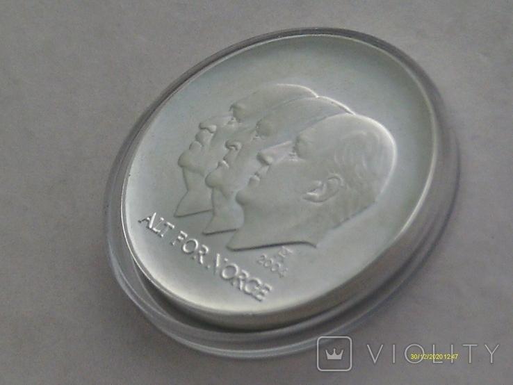 100 крон 2004 г. 100 лет Независимости Норвегия. Серебро. Футляр., фото №5