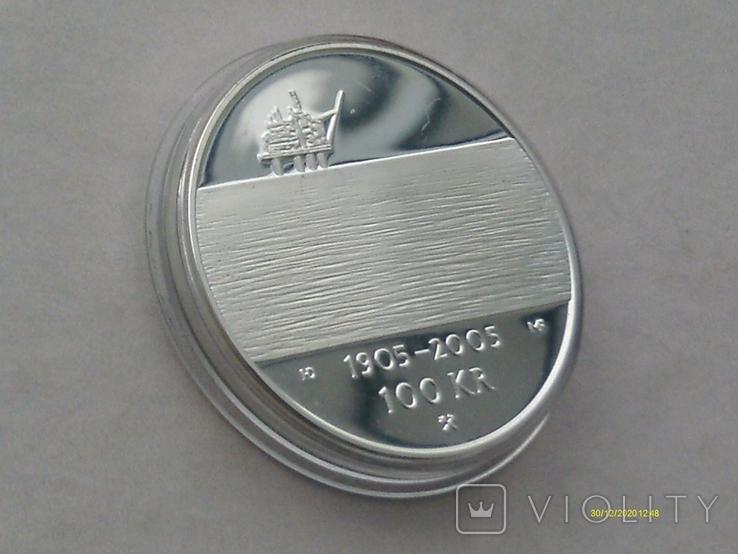 100 крон 2004 г. 100 лет Независимости Норвегия. Серебро. Футляр., фото №7