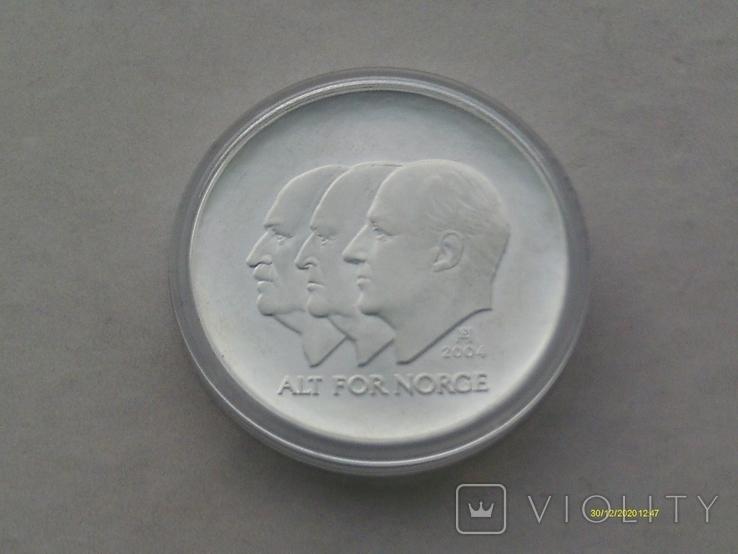 100 крон 2004 г. 100 лет Независимости Норвегия. Серебро. Футляр., фото №9