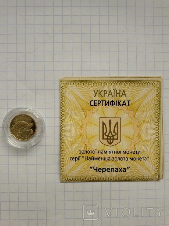 Монета 2гр. Черепаха золото, фото №2