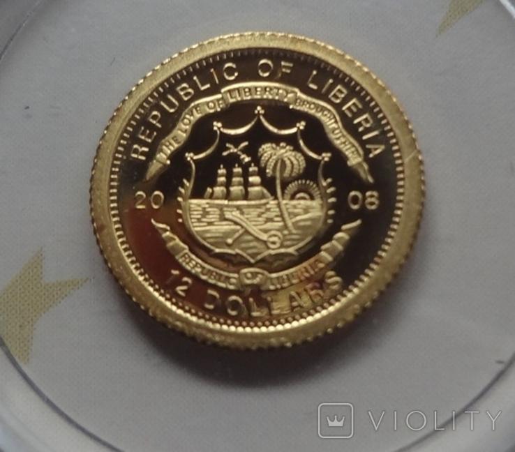 12 долларов 2008 Либерия Золото 999,9 Британия ТАУЭРСКИЙ МОСТ  (Страны европы), фото №4