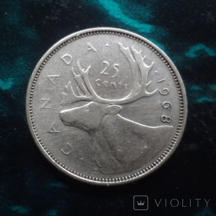 25  центов 1968 Канада   серебро    (6.2.4), фото №2