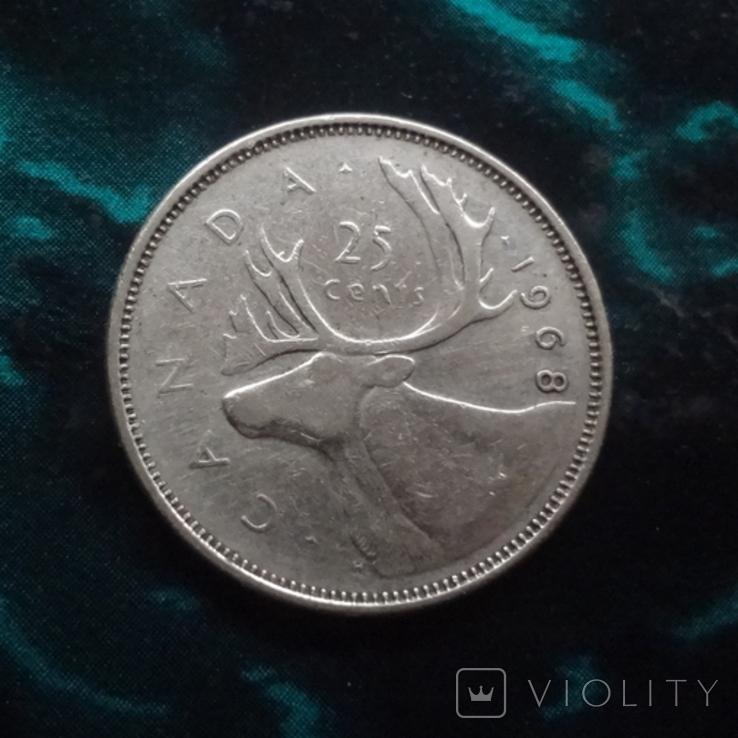 25  центов 1968 Канада   серебро    (6.2.4), фото №3
