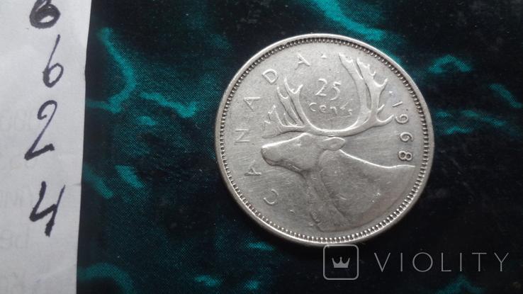 25  центов 1968 Канада   серебро    (6.2.4), фото №5