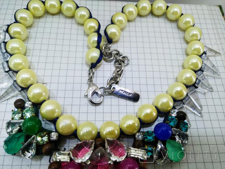 Ожерелье с жемчугом и камнями Swarovski, RADA ITALY. 135 грамм, фото №5