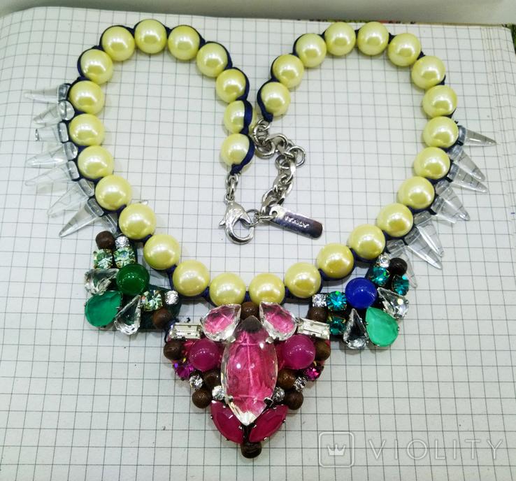 Ожерелье с жемчугом и камнями Swarovski, RADA ITALY. 135 грамм, фото №9