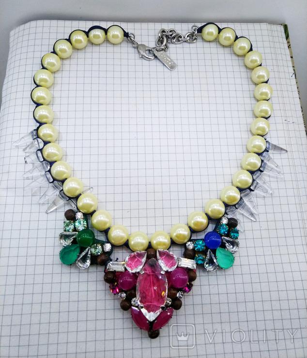 Ожерелье с жемчугом и камнями Swarovski, RADA ITALY. 135 грамм, фото №11