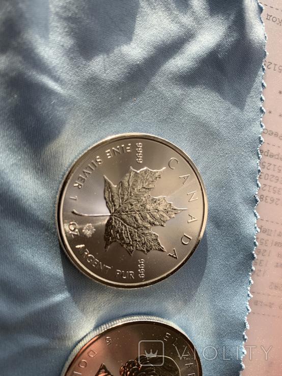 Канада 5 долларов 2020 серебро 999 унция, фото №3