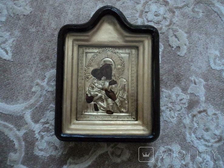 Икона Владимирская в окладе и киоте, №2, фото №2