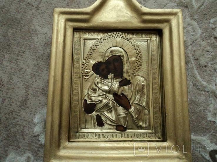 Икона Владимирская в окладе и киоте, №2, фото №3