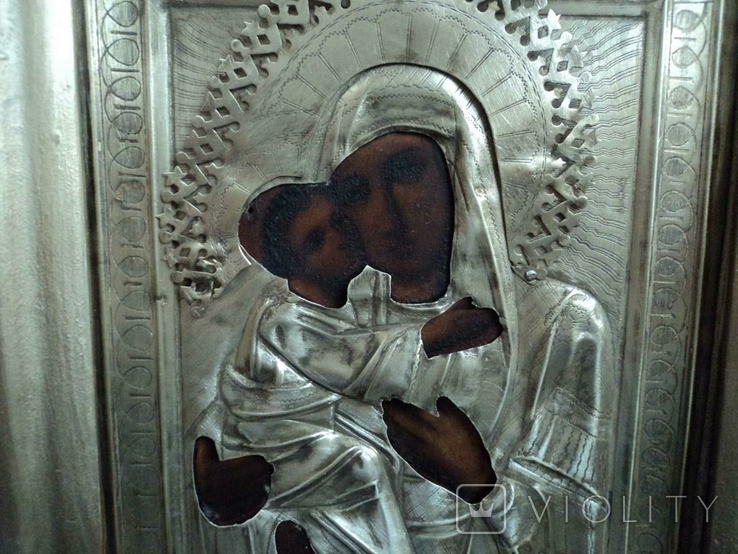 Икона Владимирская в окладе и киоте, №2, фото №5