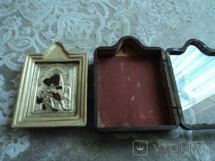 Икона Владимирская в окладе и киоте, №2, фото №9