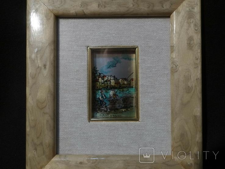 Картина миниатюра из серебра 800 с ручной росписью, фото №2