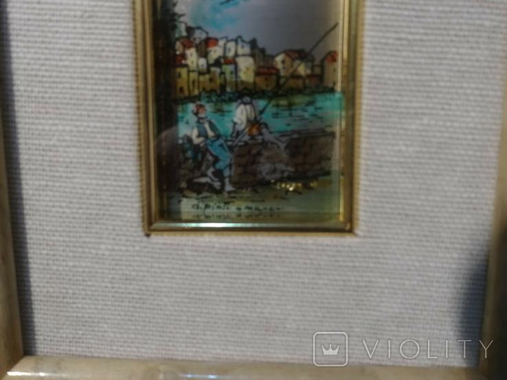 Картина миниатюра из серебра 800 с ручной росписью, фото №4