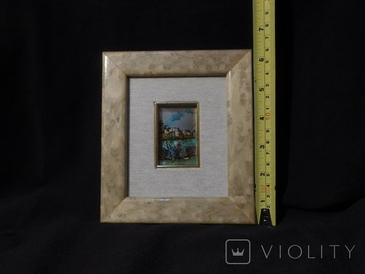 Картина миниатюра из серебра 800 с ручной росписью, фото №5