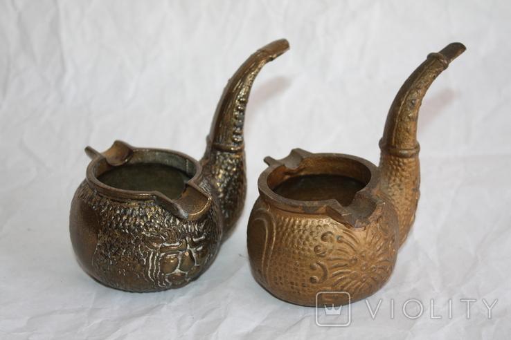Бронзовые/латунные пепельницы Португалия и две в форме курительных трубок., фото №2