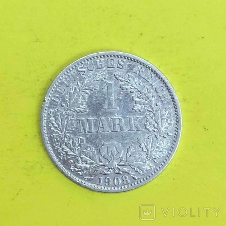 Німецька імперія 1 марка, 1908р. Срібло., фото №2