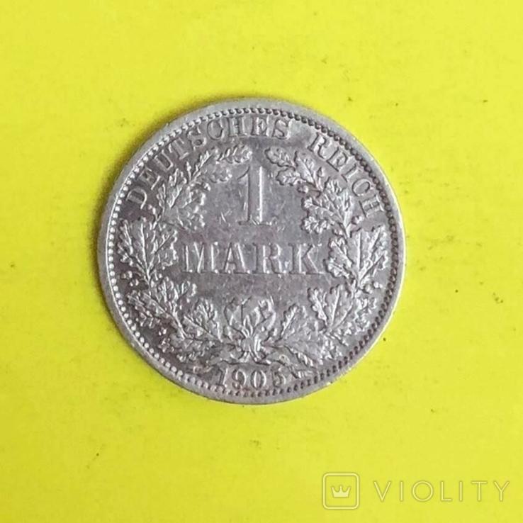 Німецька імперія 1 марка, 1905р. Срібло., фото №2