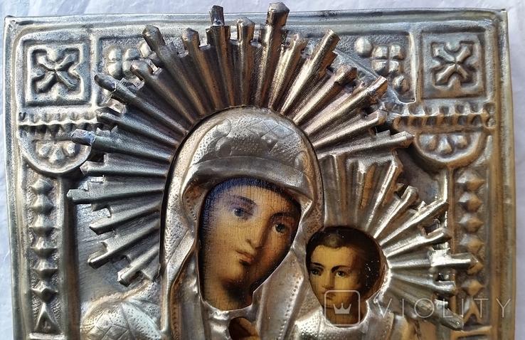 Ікона Іверська Богородиця, латунь, 17,8х14,7 см, фото №5
