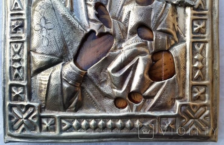 Ікона Іверська Богородиця, латунь, 17,8х14,7 см, фото №7