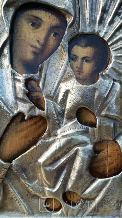 Ікона Іверська Богородиця, латунь, 17,8х14,7 см, фото №8
