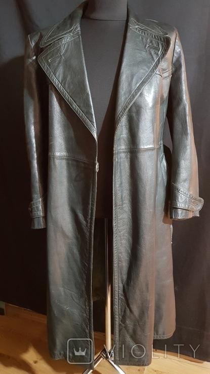 Немецкий зеленый кожаный плащ. размер М, фото №2